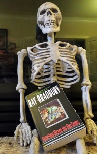 """The novel """"Something Wicked This Way Comes"""" with our friend skeleton."""