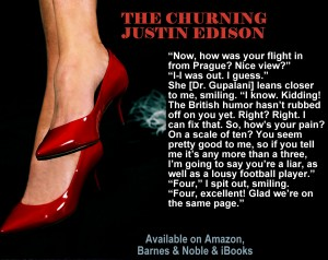 """A lady's red heels with a quote from """"The Churning."""""""