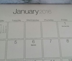 Calendar showing 1/6/16 with 'Epiphany' inadvertantly marked on the date