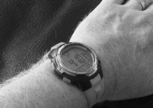 B&W pic of Justin's watch showing 4:10pm